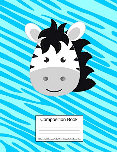 Composition Book 100 sheets/200 pages/8.5 x 11 in. College Ruled/ Zebra Blue: Writing Notebook   Lined Page Book Soft Cover   Plain Journal   Safari Africa Zebra Womens Zebra Pony