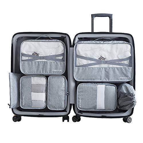 Slimfone1 Packing Cubes 7 Teiliges Kleidertaschen Set, Slimfone Packwürfel Kofferorganizer Packtaschen für Koffer Reisetasche Rucksack Taschen Organiser| (Gray)