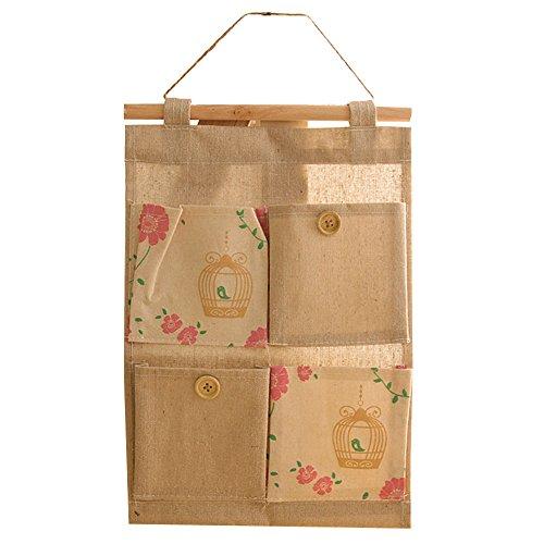 KINDOYO Hängende Aufbewahrungsbeutel für Hausorganisation Wandtasche mit Musterdekoration 4 Fächer Leinenstoff