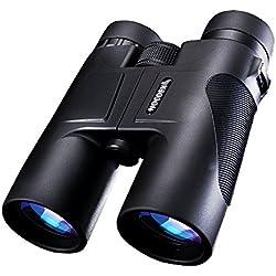 NOCOEX® 10X42 compacto de techo impermeable Prisma Prismáticos - opción ideal para la caza de observación de aves senderismo y al aire libre Visualización de Binoculars negro