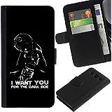 KLONGSHOP / Tirón de la caja Cartera de cuero con ranuras para tarjetas - I Want You Dark Side Vader - Samsung Galaxy S3 III I9300