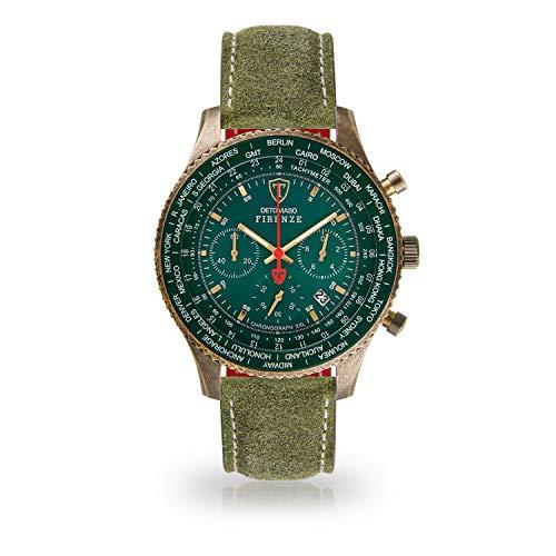 DETOMASO Firenze XXL Herren-Armbanduhr Chronograph Analog Quarz Antique Brass farbenes Edelstahlgehäuse grünes Zifferblatt (Leder - Grün)