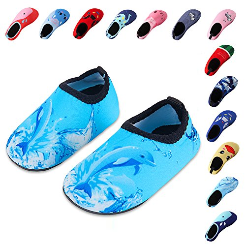 Laiwodun Kleinkind Schuhe Schwimmen Wasser Schuhe Mädchen Barefoot Aqua Schuhe für Beach Pool Surfen Yoga Unisex (1-18-19)