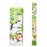 Beinou Wall Height Chart Growth Chart for Kids Wooden Wall Ruler 7.9'' x 79'' Canvas Height Measurement for Wall Decor Forest Animals Hanging Height Measure Chart for Baby Girls Toddler Bedroom