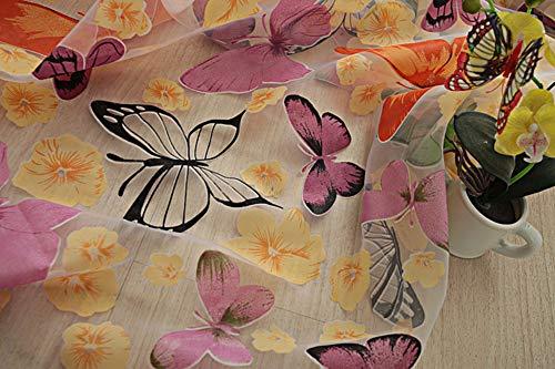 Curdecor farfalla stampato voile le tende, pura tasca rod tenda pannelli reticolo di stile di paese mantovane finestra per ragazze camera-e 100x270cm(39x106inch)