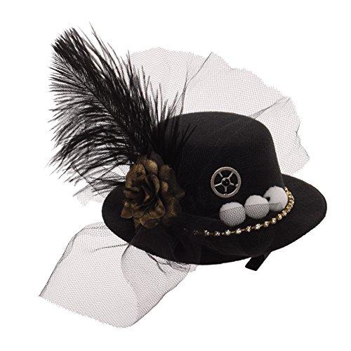 (BLESSUM Mini Oben Hut Party Hut Tanzen Cocktail Feder Schleier Haar Clip (Schwarz 2) (Black 2))