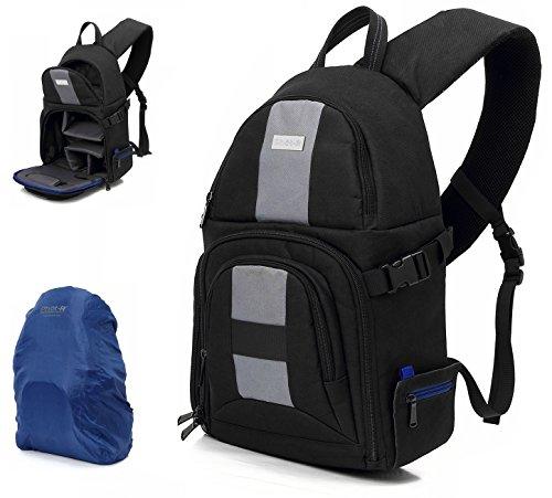 Olympus Gadget Bag (Phot-R Professionelle kompakte Digitalkamera DSLR SLR Foto Fotografie Reisen Sling Bag-Rucksack-Rucksack-Gehäuse mit Innenpolsterung und Regen-Abdeckung für Canon Nikon Sony Olympus Samsung)
