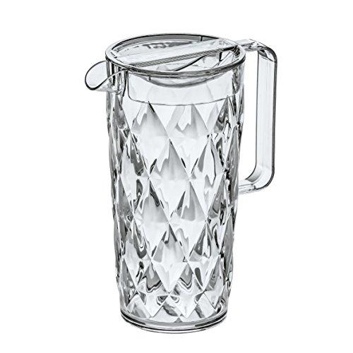 Koziol CRYSTAL - Jarra de plástico con tapa, 1,6 l, efecto cristal, c
