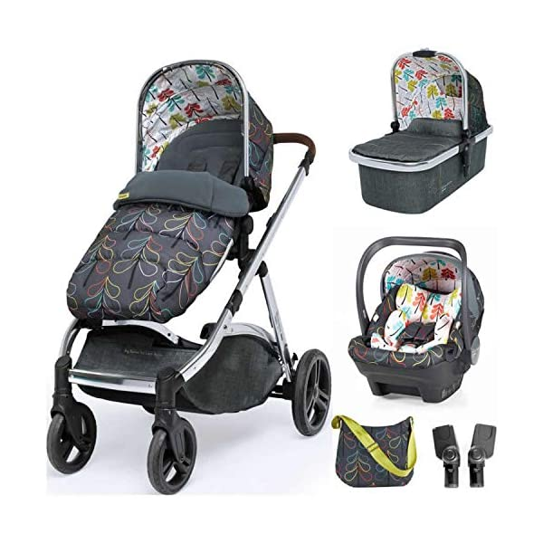 Cosatto Wow XL Tandem Pushchair in Nordik with Board car seat Bag & footmuff Cosatto INCLUDES: Chassis, Carrycot, Seat unit, Buggy board, Dock isize car seat, Change bag, Footmuff, 2 x Raincover, 2 x Toys and 10 year guarantee(UK and Ireland only) Comes as a single unit with carrycot, seat unit and adaptor kit. Suitable from birth up to 25kg Seat unit suitable from 6 months up to 25kg Carrycot suitable from birth to approx. 6 months Compatible with Dock i-Size car seat. (Car seat & adaptor both included) High position seat option bringing baby closer to you less reaching and stretching post pregnancy. From-birth carrycot with comfy mattress, carry handle and removable washable liner. 'In or out' facing pushchair seat lets them bond with you or enjoy the view. Deep comfy pushchair seat for a supportive snuggle. Seat structured and upholstered for ultra comfort. Chest pads and tummy pad. This is comfort. 1