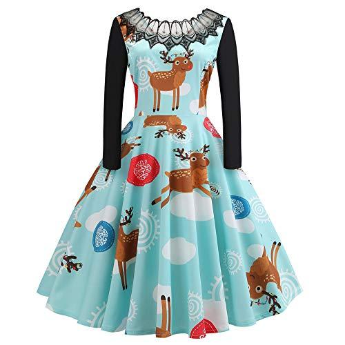 (OverDose Damen Frohe Weihnachten Stil Frauen Vintage Print Langarm Weihnachten Abend Party Cosplay Elegante Slim Swing Kleid Geschenk(Z-A-Grün,2XL))