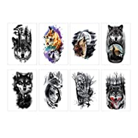 Spestyle 8pcs/package Wolf Temporary Tattoo Sticker for Women Men Fashion Body Art Adults Waterproof Hand Fake Tatoo