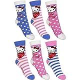 6er Pack Mädchen Socken Hello Kitty Violetta Frozen (23 - 26, Hello Kitty)