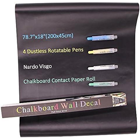 Nardo Visgo® pizarra Contacto Rollo de papel con el retículo (18 x 78,7 pulgadas) -4 color tiza rotativo Plumas libre de polvo Incluido - espesado desprendible auto-adhesivo de la etiqueta engomada de la pared de la pizarra