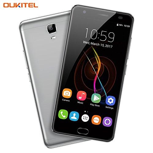 OUKITEL K6000 Plus - 5,5 Zoll 4G FDD-LTE Smartphone, Frontpresse Fingerabdruck, Android 7.0 Octa Core 4GB+64GB, Dual Kameras 16MP+8MP, Dual SIM, 6080mAh Flash Charge, OTG, Entriegelte Handy, Grau