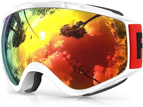 findway Skibrille, Snowboard Brille für Brillenträger Herren Damen Erwachsene Jugendliche OTG UV-Schutz Kompatibler Helm Anti Fog Skibrillen Sphärisch Verspiegelt (Revo-Rot/Weiß (VLT 9.6%)) -