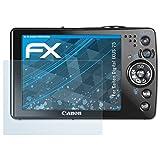atFoliX Displayschutzfolie für Canon Digital IXUS 75 Schutzfolie - 3 x FX-Clear kristallklare Folie