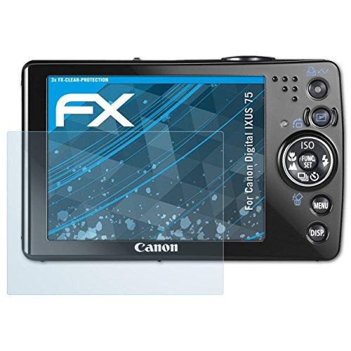 atFoliX Schutzfolie kompatibel mit Canon Digital IXUS 75 Folie, ultraklare FX Displayschutzfolie (3X) Canon Ixus 75 Digital Kamera