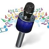 Hizek Mikrofon kabellos, Mikrofon Bluetooth Karaoke Studio Duo Singen für Kinder Erwachsene Familie mit LED Lichter Lautsprecher für iPhone Android iPad Mikrofon PC für Gesang Hotels Party–Schwarz