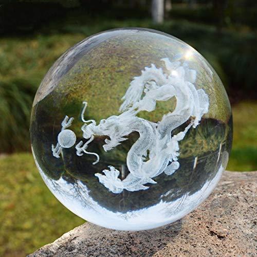 Dodom 3D Láser Grabado Dragón Estatuilla Bola Dragón Chino tradición Feng Shui Tormenta Mármoles de Cristal Bolas Esfera de Cristal Bola de Dragón, como Imagen, 6 CM