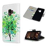 Hülle für Samsung Galaxy S9 Leder, Wallet Handyhülle Silikon mit PU Leder Brieftasche Tasche Cover, [Kartenfach] [Magnetverschluss] [Standfunktion] Schutzhülle, Filp Case für Samsung Galaxy S9 Grüner Blumenbaum