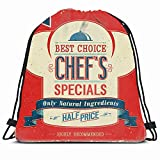 KAKALINQ Drawstring Backpack String Bag Retro Text Chef Vintage Chefs Specials Food Advertise Drink Place Restaurant Eat Cafe Lunch Creative Graphic Sport Gym Sackpack Hiking Yoga Travel Beach