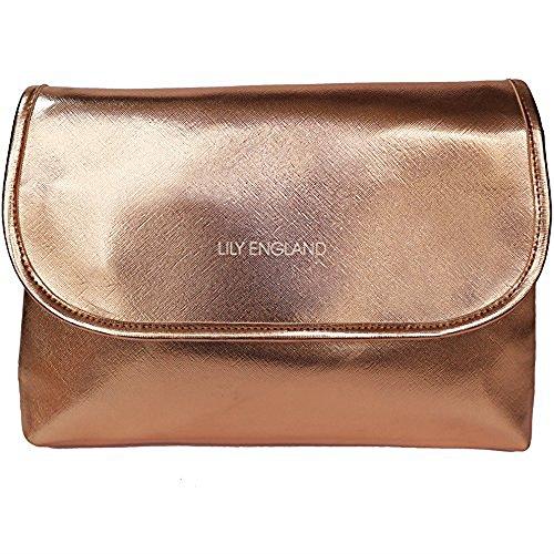 Lily England extra großer Kulturbeutel für Damen – Kulturtasche, Waschtasche & Kosmetiktasche für Frauen in Rosegold