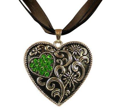 Trachtenschmuck Dirndl Kette Kristall Herz – geschwärzt – Edelweiss – Peridot grün...