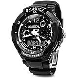 Digital-analog Boys Girls Sport Digital Watch with Alarm Stopwatch Chronograph - 50m Water Proof (white)