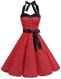 DRESSTELLS Neckholder Rockabilly 1950er Polka Dots Punkte Vintage Retro Cocktailkleid Petticoat Faltenrock Red Small White Dot S