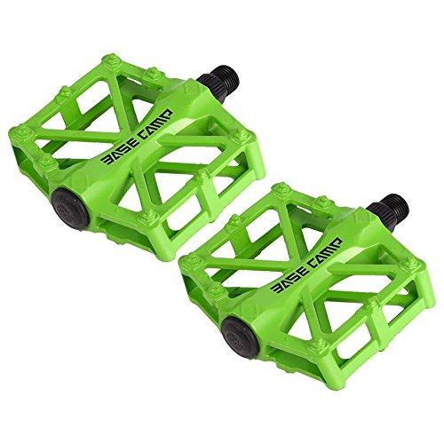 Pedales para bici bmx Bicicleta de montaña MTB ciclismo de carreras ultraligero pedal de aleación (Verde)