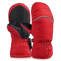 Vbiger Kinder handschuhe ski Handschuhe Warm Winter Handschuhe Anti-Rutsch Sport handschuhe Camo Windproof Skatinghandschuhe Geeignet für Jungen und Mädchen, Rot, L