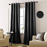 Deconovo Lot de 2 Oeillets Rideau Occultant Thermiques Isolant Noir Decoration Rideau Chambre Adultes en Salon Moderne 140x260cm