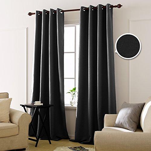 Deconovo tende per finestre interni oscuranti termiche isolanti con occhielli per casa moderne 2 pannelli 140x180 cm nero