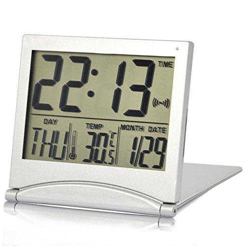 TRIXES Orologio digitale da tavolo LCD color argento Temperatura Sveglia