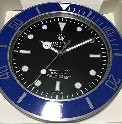 REPLICA Rolex 35 CM da Muro Submariner GHIERA Blu Metallo Movimento Silenzioso