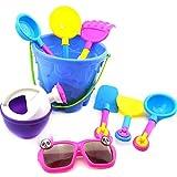Vi.yo 25pcs Juegos de Cubo de Castillo Juguetes de Playa para Niños Juego de Arena de Reloj de Arena para Bebé Juguetes de Playa de Pala Grande (D)