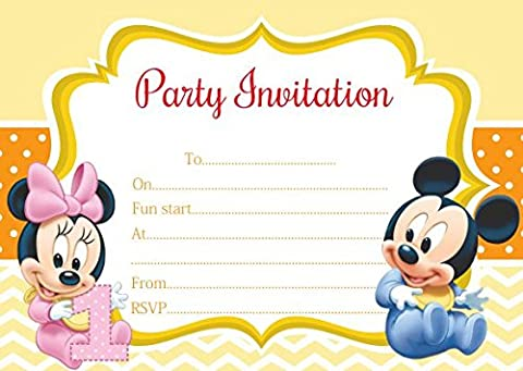 10 x Baby Minnie Mickey Mouse Donald Duck Daisy Children Birthday Party Invitations