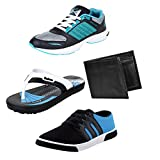 #2: Bersache Men Combo Pack of 4 Sports Shoe With Casual Shoe, Slipper & Wallet