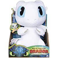 Dragons 6046845 DreamWorks, Squeeze & Growl Lightfury, 10-inch Plush Sounds, for Kids Aged 4 and Up