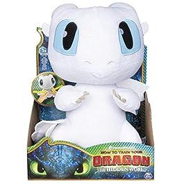 Dreamworks Dragons – Squeeze & Growl Lightfury, Drago Furia Bianca di Peluche da 25 cm con Effetti Sonori, per Bambini dai 4 Anni in su, 6046845