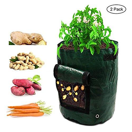 TianMai Kartoffel Wachsen Tasche 2 Pack 7 Gallonen Garten Gemüse PE Pflanzbehälter Tasche mit Klappe und Griffe Heavy Duty geeignet Terrasse recycelt Hausgarten liefert (2 Pack 7 Gallon)