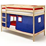 IDIMEX Etagenbett Doppelstockbett Felix, Kiefer Massiv, Natur Lackiert, mit Vorhang in Blau und Rot