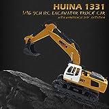 Lorenlli Misura HUINA Toys 1331 1/16 9CH RC Escavatore Truck Engineering Costruzione Veicolo con Telecomando per Automobili con Luce di Rotazione a 350 °