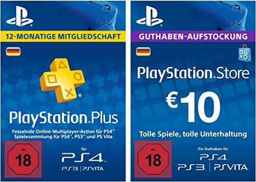 PS Plus Mitgliedschaft 12 Monate + PlayStation Store Guthaben-Aufstockung 10 EUR [PS4, PS3, PS Vita PSN Code - deutsches Konto]