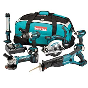 Makita DLX6000M 18V LXT Lithium-Ion 6Piece Cordless Kit (3x 4ah Batteries) DLX6000M–Jeu d'outils (18volts, pack de 6)