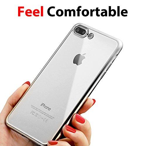 Coque iPhone 8 Plus silicone , Ubegood Liquid Crystal iPhone 7 Plus housse Gel Ultra Mince Anti Choc transparent Étui housse pour iPhone 8 Plus / iPhone 7 Plus Bumper case Argent