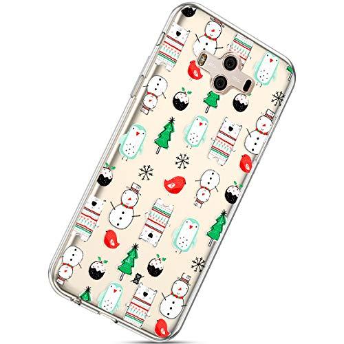 Handytasche Huawei Mate 10 Crystal Clear Ultra Dünn Durchsichtige Silikon Schutzhülle Weiche TPU Schutzhülle Silikon Dünn Case Kirstall Transparent Handyhüllen,Schneemann Weihnachtsbaum