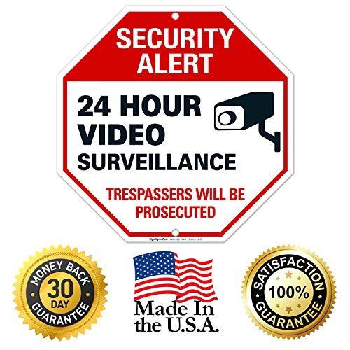 Video Surveillance Sign, 12x12 Octagon Shaped Rust Free Aluminum, Weather/Fade Resistant, Easy Mounting, Indoor/Outdoor Use, Made in USA by SIGO SIGNS (2)