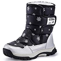 K&T Kids Boots Girls Boys Winter Snow Boots Outdoor Waterproof Non-Slip Sneakers(Toddler/Little Kid/Big Kid) Black