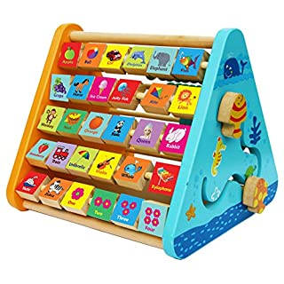 Toys of Wood Oxford Wooden Activity Centre - Wooden Activity Toys with Alphabet Blocks and Abacus-Early Learning Centre Baby Toys